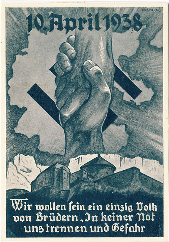 Propaganda postcard. Voting (annexation of Austria (the Anschlus