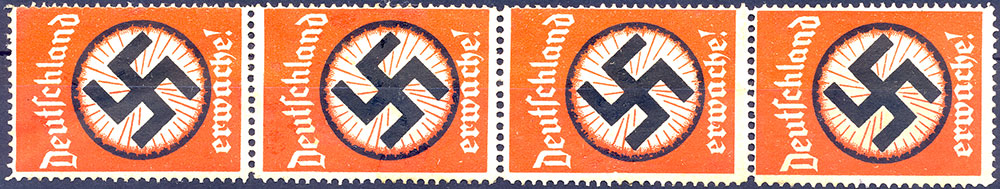 4 Poster stamps. Deutschland Erwache! Germany Wake up!