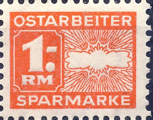 Revenue [saving stamp]. 1 RM. Worker from East