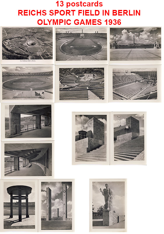 13 postcards. Olympic Games 1936. Reich Sports field