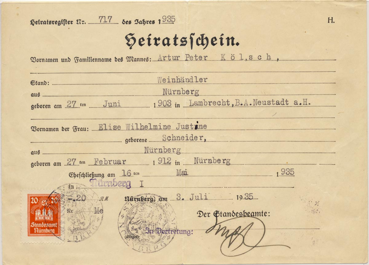Wedding certificate with rare Nürnberg revenue.