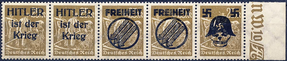 Anti Hitler Movement overprint on 1922 stamps