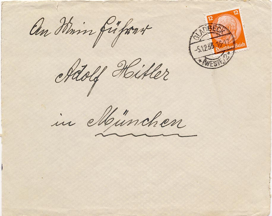 Cover send to Adolf Hitler in Munich.