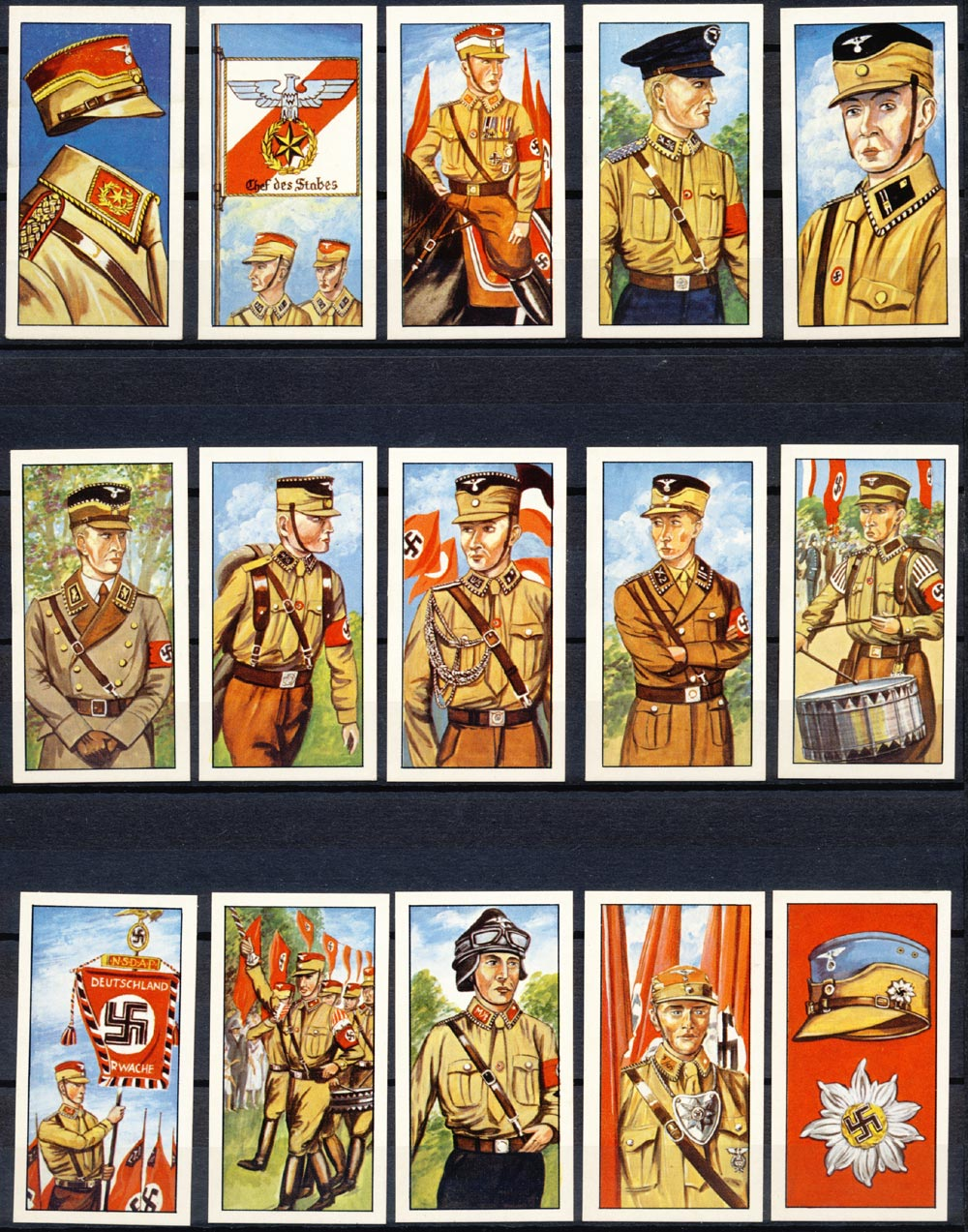 50 pictures/drawings. German Uniforms. SA/SS/HJ.