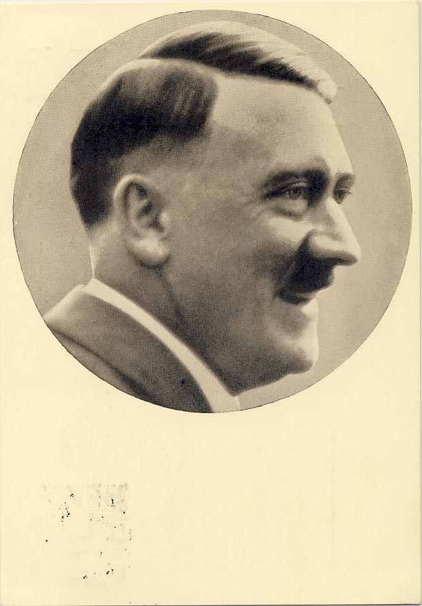 Adolf Hitler postcard with Propaganda vignette at the reverse.