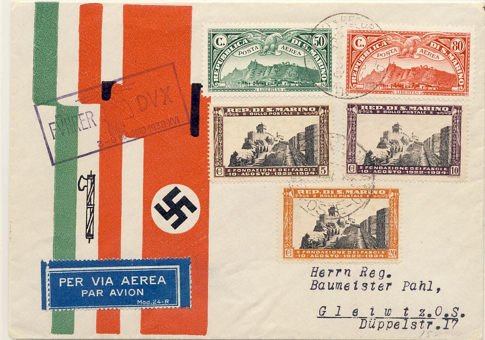 Cover. Facist Italian/Nazi German. Italian stamps.
