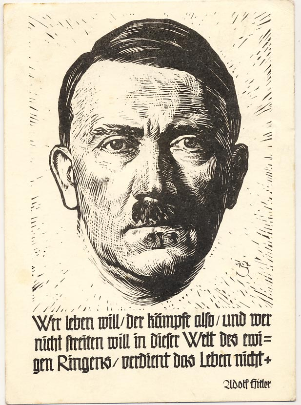 Postcard with a Hitler quotation.