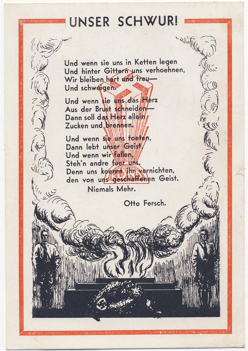 Our oath! American Nazi party postcard send to Germany.
