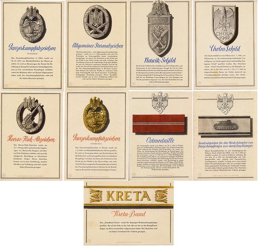 9 propaganda postcards (German badges).