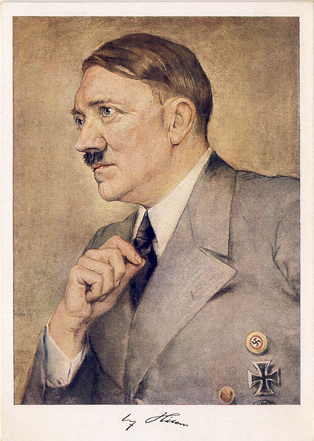 Adolf Hitler postcard. Signature printed.