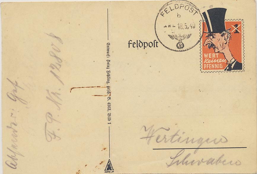 Field postcard. Chamberlain. Not a penny worth.